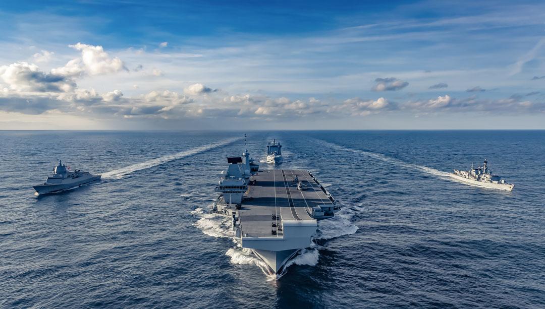 Norwegian anti-submarine frigate HNoMS Thor Heyerdahl joined the UK's Carrier Strike Group as it transits east across the Atlantic