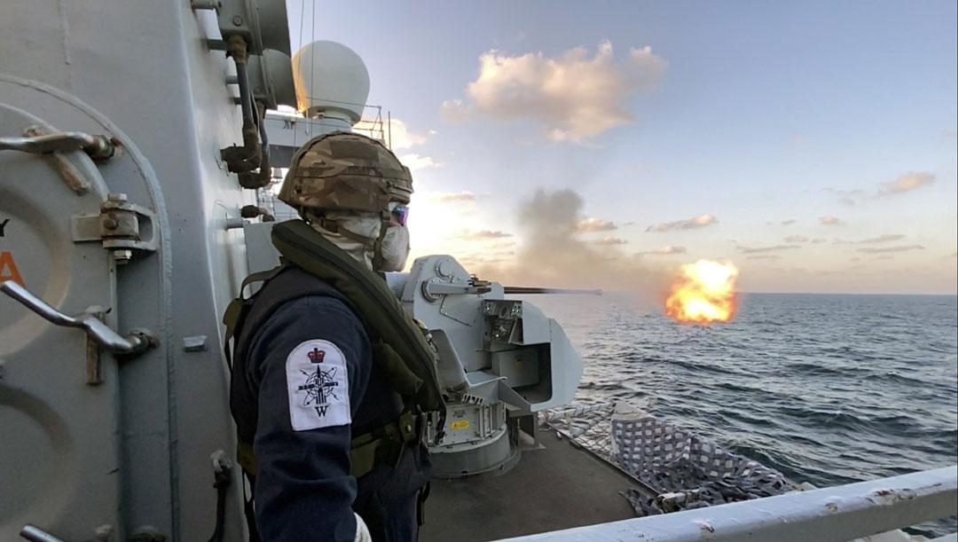 HMS Montrose tests her 30mm gun