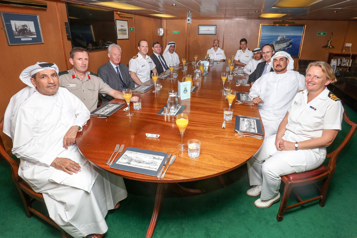Commander Terry at a dinner for VIPs in the Middle East aboard HMS Ocean in 2016