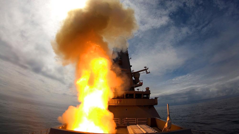 HMS Defender fires a Sea Viper
