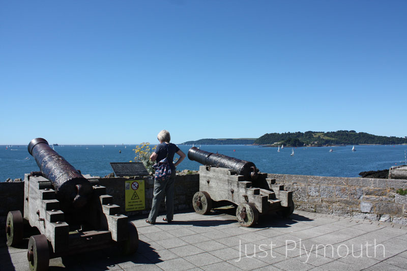 East Hoe cannons overlooking Plymouth Sound
