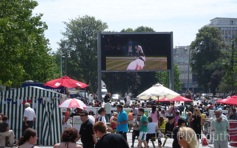 The Piazza with Wimbledon on the big screen