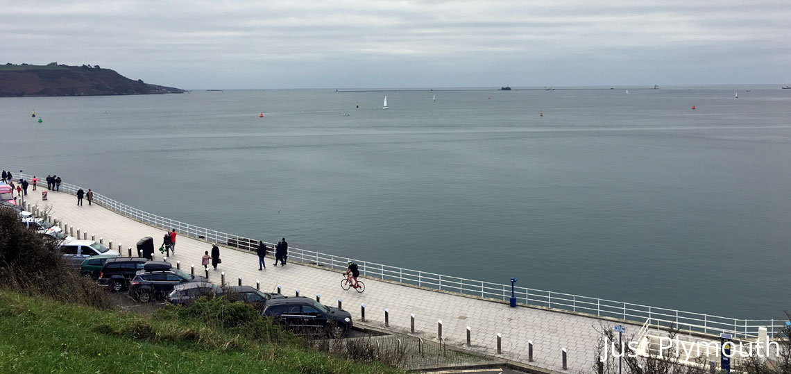Plymouth Sound with the breakwater and fort