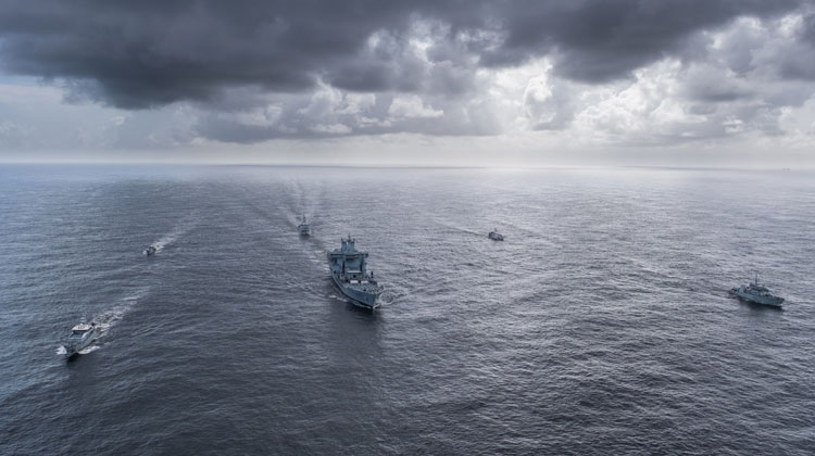 RFA Wave Knight leading HMS Medway in the centre