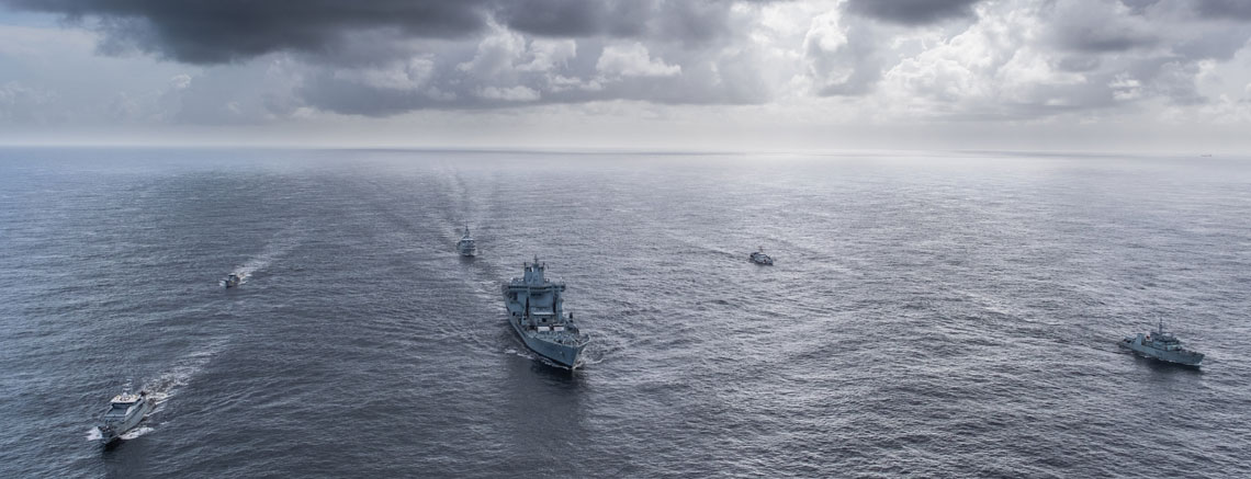 Tradewinds participants with RFA Wave Knight leading HMS Medway in the centre