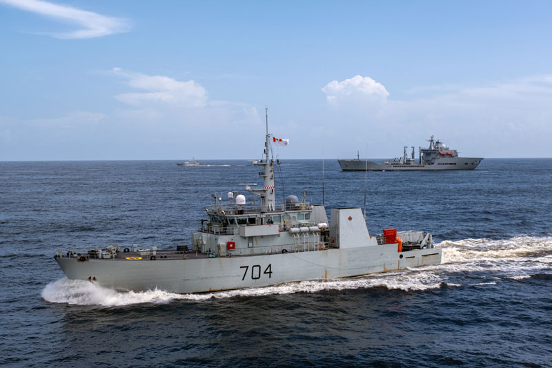 Canada's HMCS Shawinigan with RFA Wave Knight to starboard