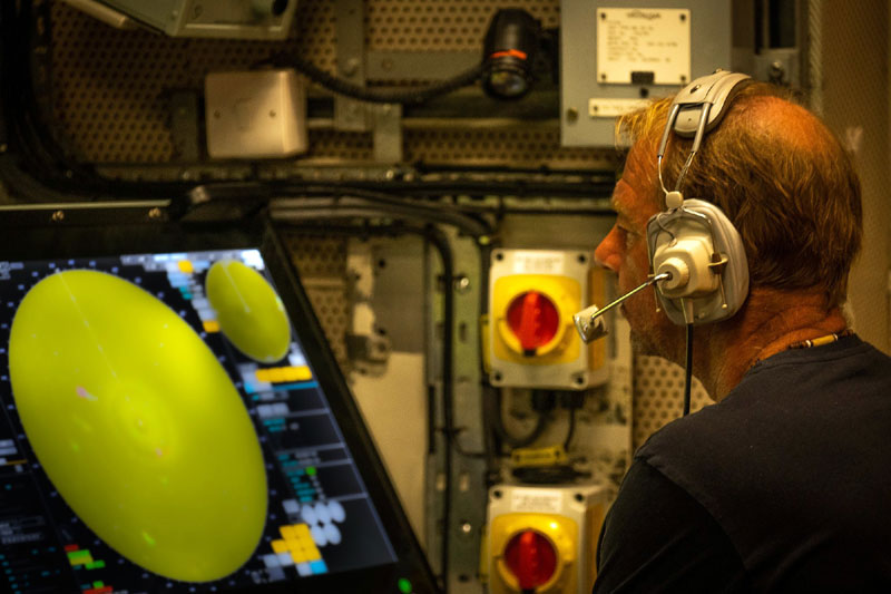 One of RFA Wave Knight's crew monitors the aerial picture during the air defence exercise