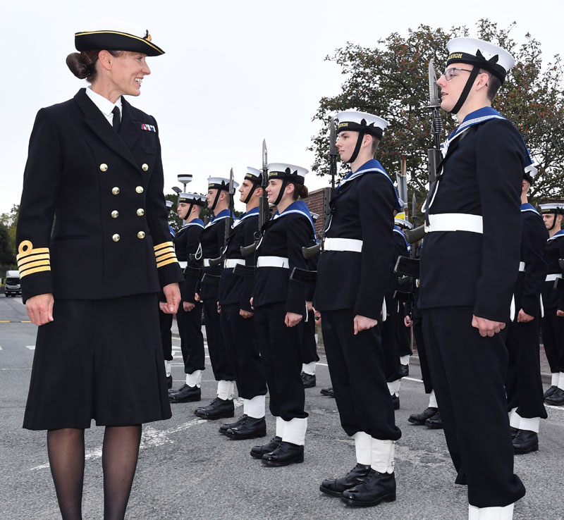 Capt Suzi Nielsen inspects recruits at HMS Raleigh