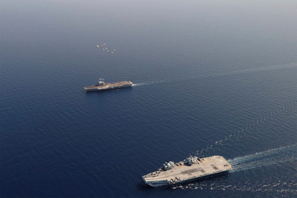 HMS Queen Elizabeth and French aircraft carrier FS Charles de Gaulle during Exercise Gallic Strike