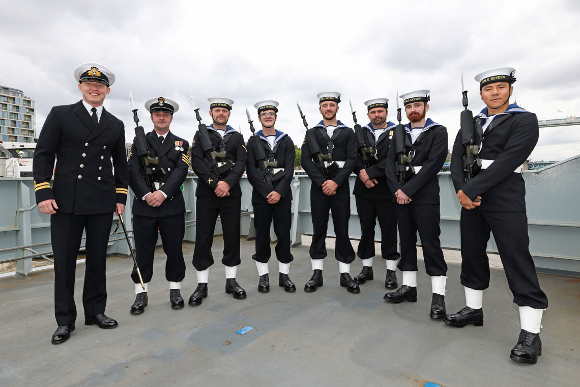 Members of the Ceremonial Gaurd formed from the ships company of HMS Severn