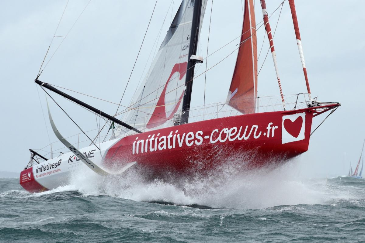 Sam Davie IMOCA Initiatives Coeurs blasts her way out of the Solent © Rick Tomlinson
