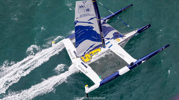 Maxi Edmond de Rothschild co-skippered by Franck Cammas and Charles Caudrelier leads the Rolex Fastnet Race © Carlo Borlenghi Rolex