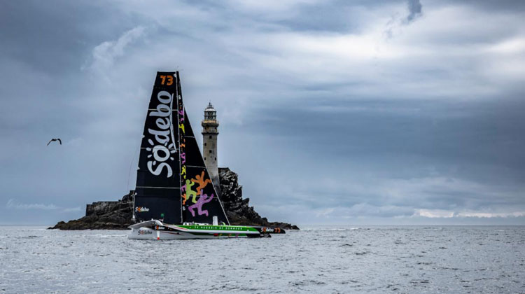 Thomas Coville's Sodebo Ultim 3 finished the Rolex Fastnet Race in Cherbourg