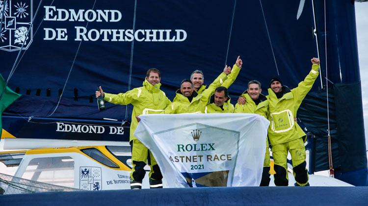 The Maxi Edmond de Rothschild crew celebrate their latest victory