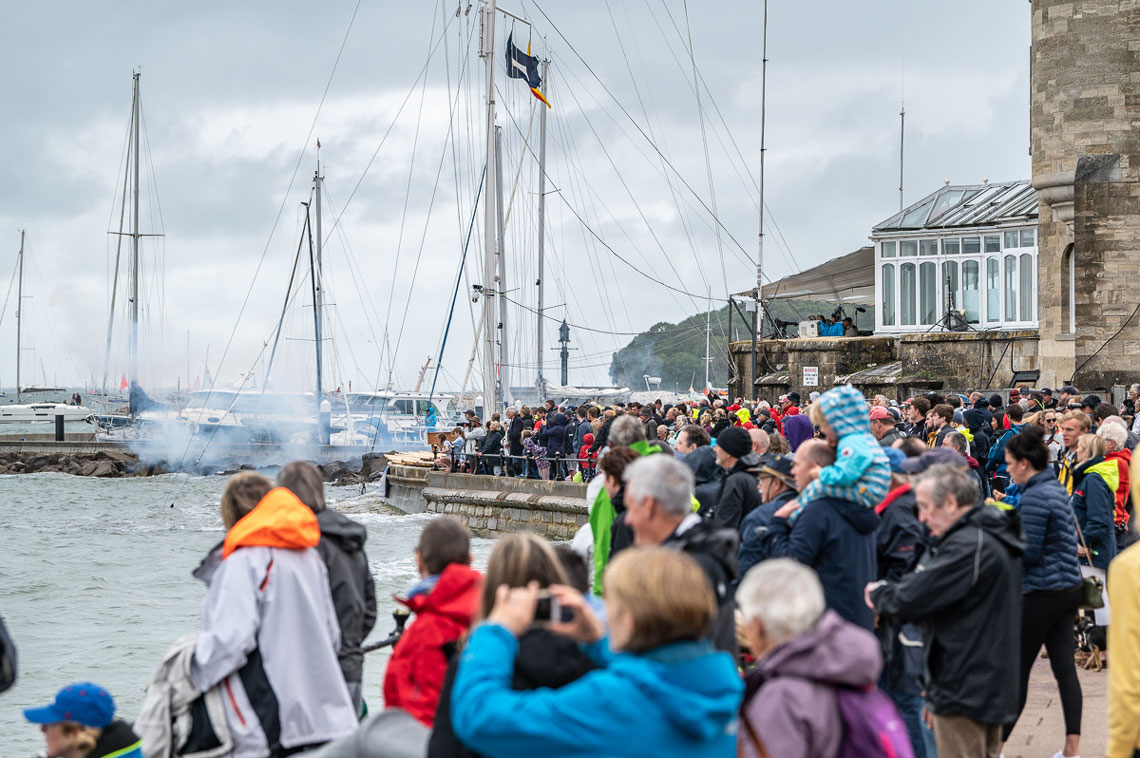 Hundreds of spectators on and off the water enjoyed the spectacle of the Rolex Fastnet Race start © Martin Allen