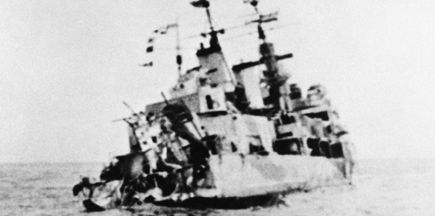 HMS Edinburgh with her stern blown off