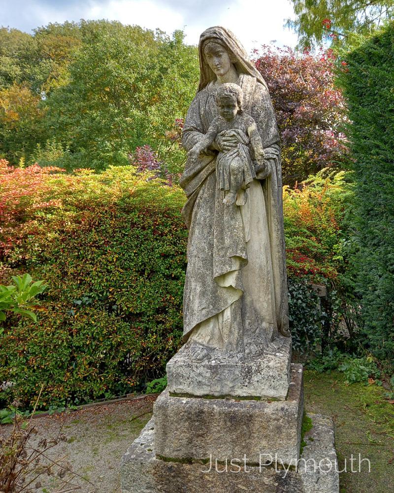 Buckfast Abbey garden statue of Mary and baby Jesus