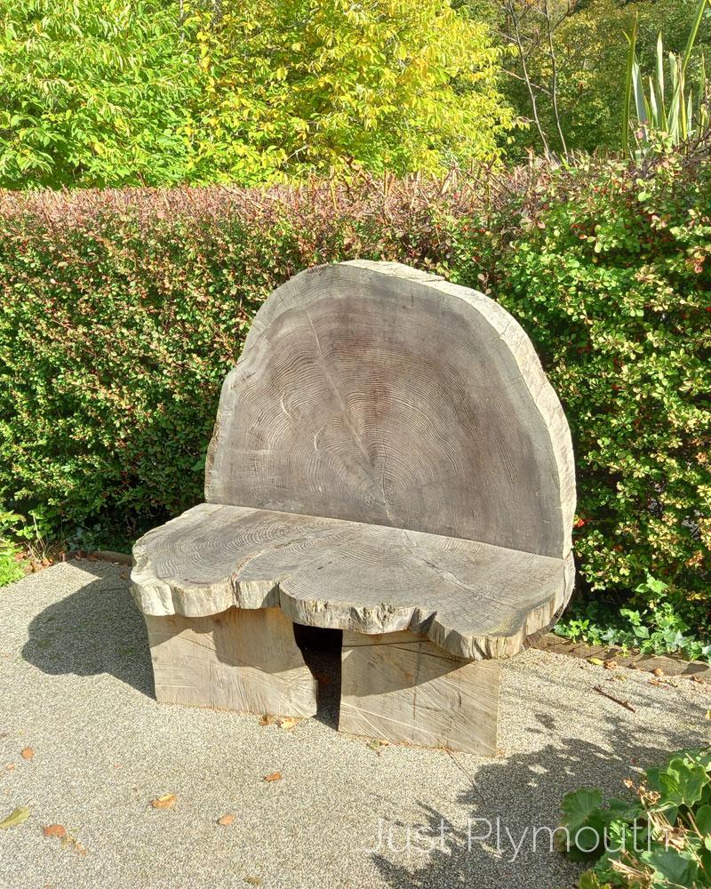 Buckfast Abbey tree trunk slice bench